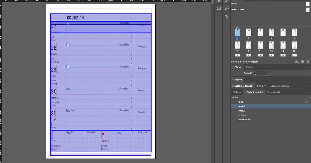 Indesign - kolorowa strona po scaleniu danych